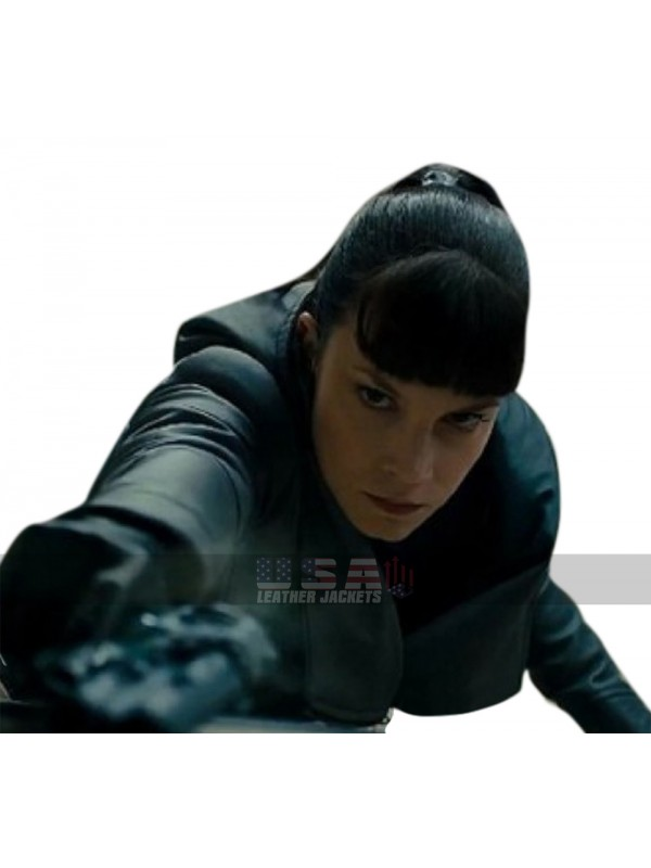 Blade Runner 2049 Sylvia Hoeks Black Hoodie Leather Jacket